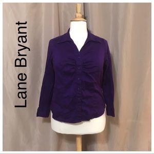 Lane Bryant 14/16 purple button front blouse